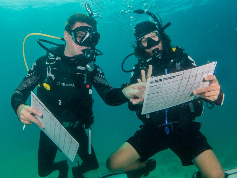 PADI IDC Staff Instructor Evaluation Slates Open Water